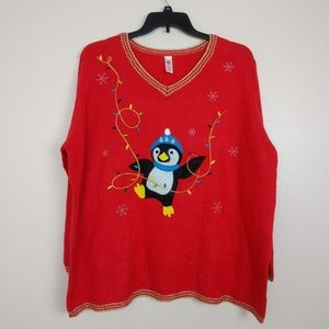 Sweaters - Party Penguin Ugly Christmas Sweater Red 4X #YY10